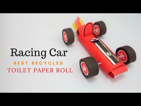 Paper Racing Car: Best Recycled Toilet Paper Roll | How To Make a Racing Car Craft