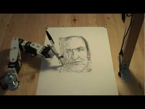 Paul the robot drawing Patrick