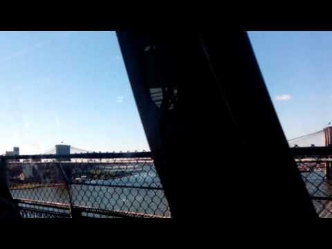 Subway on the brooklyn bridge from manhattan to brooklyn - New york life