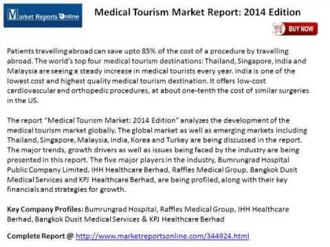 Medical Tourism Market Report: 2014 Edition