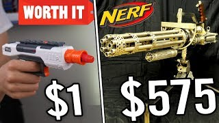 $1 NERF GUN VS $575 NERF GUN (24K GOLD NERF GUN!)