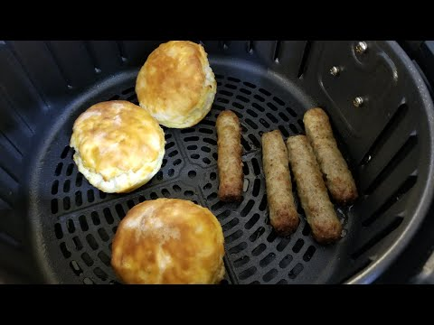 Air Fryer From Frozen Biscuits & Sausage Links Breakfast Airfryer