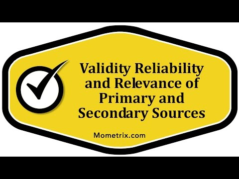 Validity Reliability and Relevance of Primary and Secondary Sources