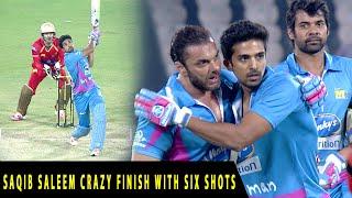 Saqib Saleem Crazy Finish With Six Shots in Last Over for Mumbai Heroes against Telugu Warriors.
