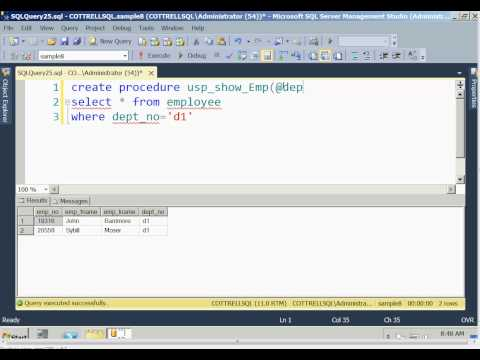 SQL Server 2012 create a stored procedure