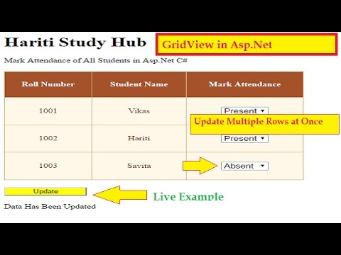 Update Multiple rows in GridView Control at Once in Asp.Net C# | Hindi | Online Tutorial Classes