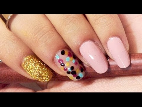 Easy Slaying Pink, Glittery Gold, & Polka Dots Nail Tutorial
