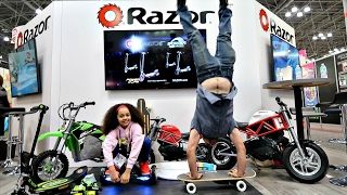 HOVERBOARD VS POWER WHEELS RIDE ON BIKES VS SCOOTER VS ELECTRIC SKATEBOARD Funny Fails & Tricks