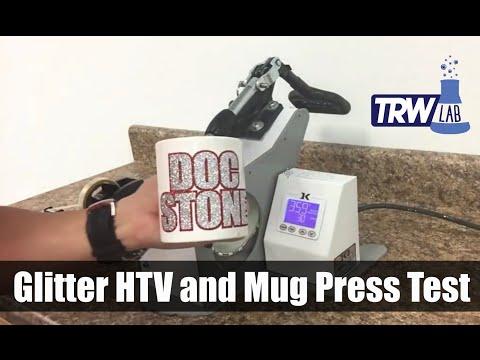 TRW Lab Can you press Glitter HTV on a Coffee Mug? The Rhinestone World