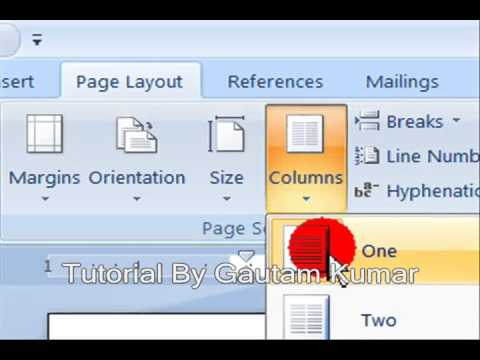 Learn How To Use  Columns Option In MS Word 2007 ( In Hindi))