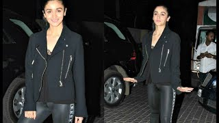 Alia Bhatt Private Parts Exposed In Tight Leather Pant At Badrinath Ki Dulhania Screening