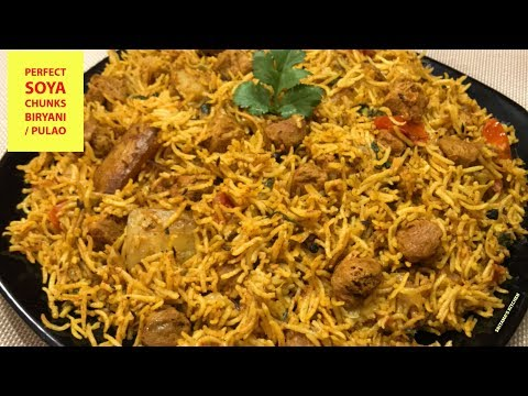 Soya Biryani Recipe-How To Make Quick Soya Chunks Biryani-Pressure Cooker Veg Biryani-SoyaBean Pulao