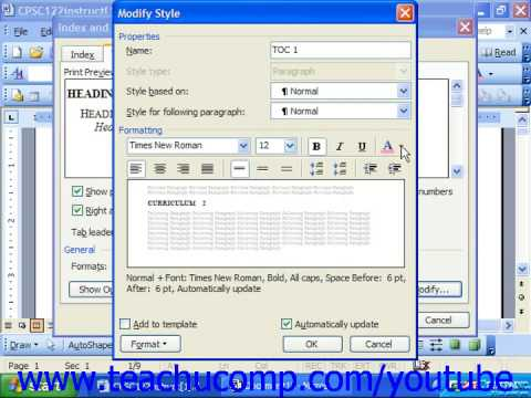 Word 2003 Tutorial Customizing a Table of Contents Microsoft Training Lesson 26.2