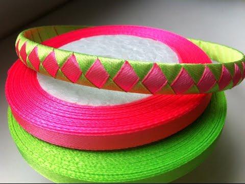 Braid hairband satin ribbon / Hairband Diamonds