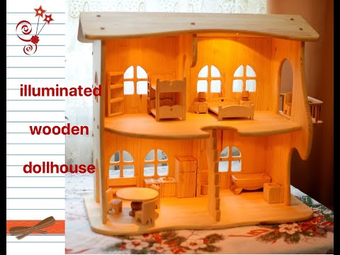 Wooden dollhouse with furniture. Lighting house. Montessori waldorf.wooden toy, multi-storey house