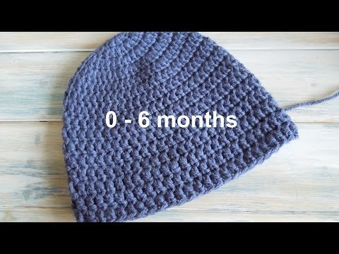 (crochet) How To - Crochet a Simple Baby Beanie for 0-6 months