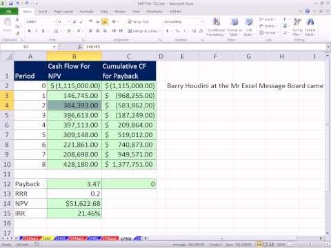 Excel Magic Trick 746: Payback Rule Dynamic Single Cell Array Formula LOOKUP function Array Magic
