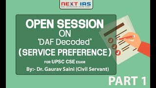 Open session on DAF Part-1 (Service Preference)