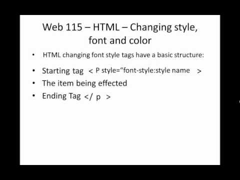HTML - Changing style, font and color
