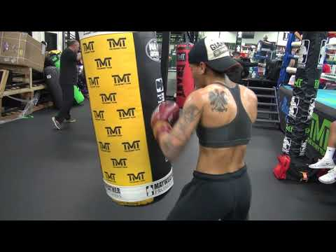 Ladies champ Ava Knight on the heavy bag inside the Mayweather Boxing Club