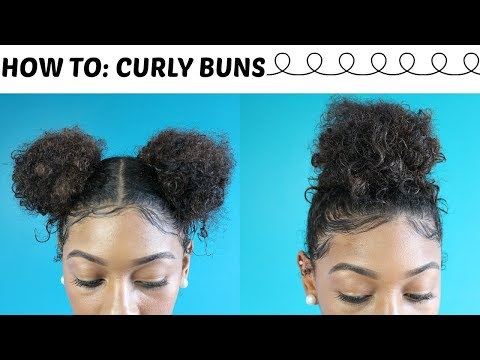 How To: 5 Minute Natural Curly Bun Hairstyles + Laid Baby Hairs   Top Knot and Space buns