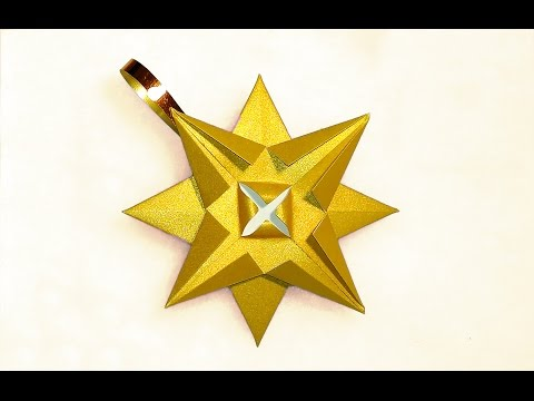 Easy origami Star - Christmas ornament. Paper star.