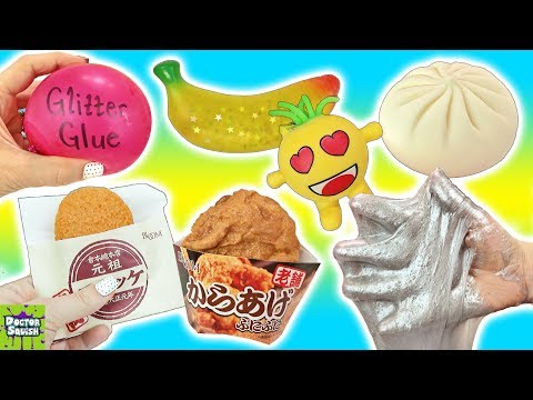 Cutting Open Squishy Fried Chicken Toy! Balloon Pop Slime Making! Doctor Squish