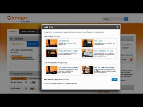 Vonage Online Account Overview