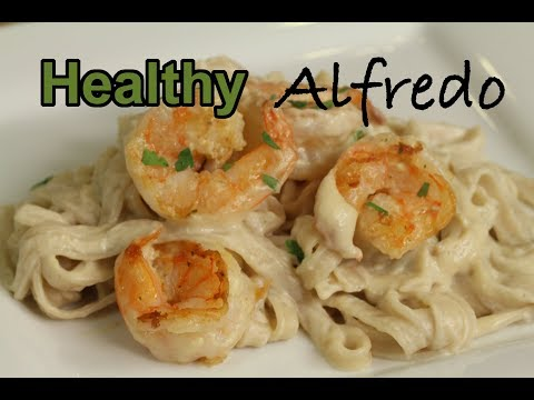 Healthy Alfredo Pasta & Grilled Shrimp | Rockin Robin Cooks