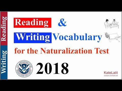 Reading and Writing Vocabulary for the Naturalization Test (2018)