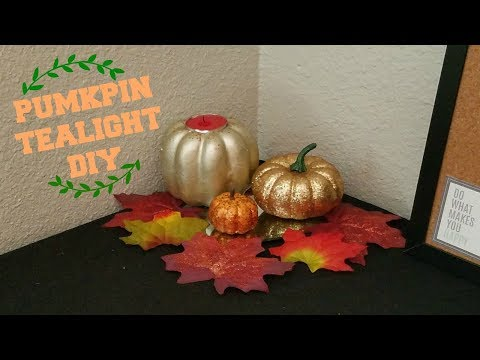 UPCYCLED PUMPKIN TEALIGHT | DOLLAR TREE FALL DIY | FALL 2017