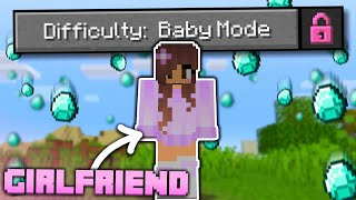"""My GIRLFRIEND Beat Minecraft in """"BABY MODE"""" Difficulty!"""