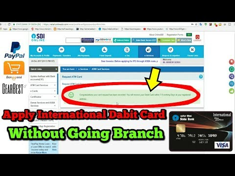 HOW TO APPLY SBI INTERNATIONAL DEBIT CARD WITHOUT VISITING BRANCH AT HOME 2018 ( HINDI)