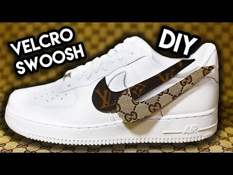 HOW TO: INTERCHANGEABLE DESIGNER VELCRO SWOOSH CUSTOM ON AIR FORCE 1's !