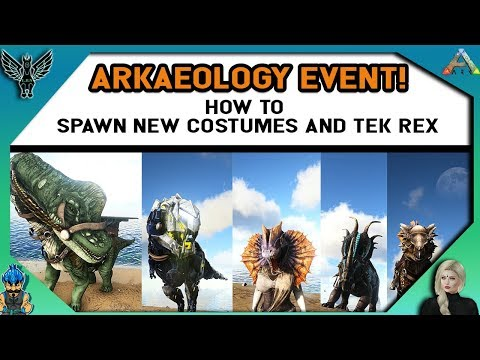 ARKaeology Event! How to spawn new costumes, mask, and tek rex!