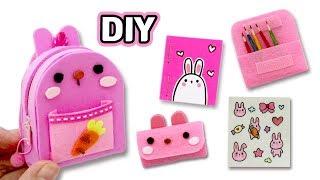 토끼학용품세트 만들기!★DIY  Miniature Rabbit School Supplies!★책가방/인스/필통/연필/미니노트_예뿍