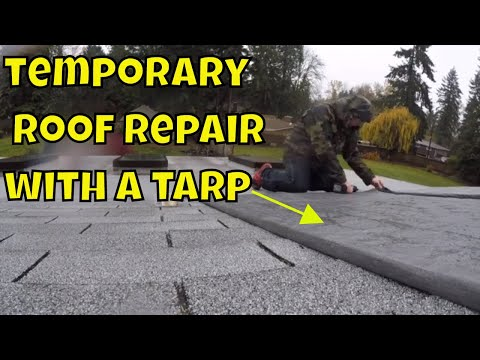 How to temporarily cover your roof when it leaks using a tarp! Shop is leaking!!!!