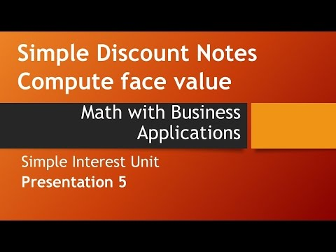 Simple Discount Notes: Compute Face Value – Math w/ Business Applications, Simple Interest Chapter