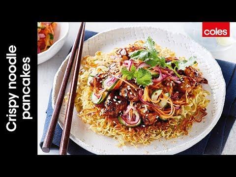 Crispy noodle pancakes with teriyaki chicken