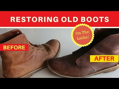 DIY- Fixing Leather Boots- repair stained and cracking leather using a lathe