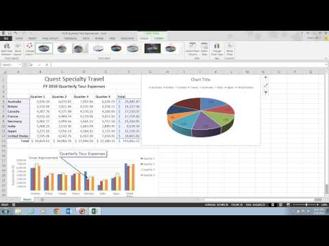 Excel 2013 Unit D Video 8 - Create a Pie Chart
