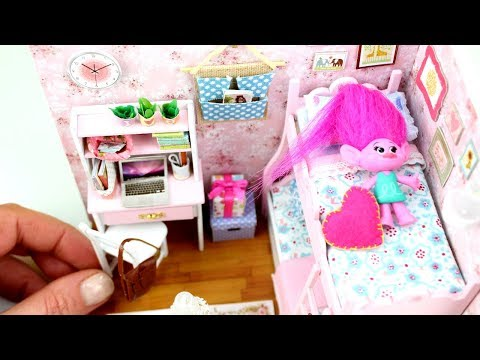 DIY Dollhouse Miniature Pink Doll Room Set for Poppy Troll Playing with Baby Doll House Toy Bedroom