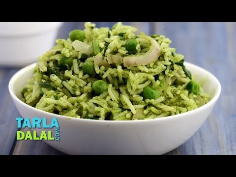 Spinach and Green Pea Rice by Tarla Dalal
