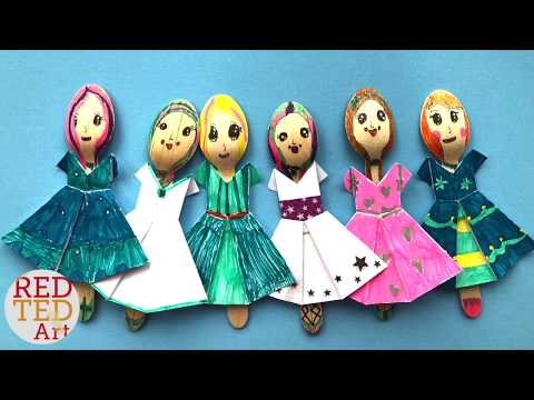 Fashion Dolls with Red Ted and Pip - Wooden Spoon Dolls & Fashion Origami Dresses