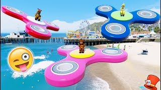 ANIMATRONICS FLY ON GIANT FIDGET SPINNERS! (GTA 5 Mods For Kids FNAF RedHatter)