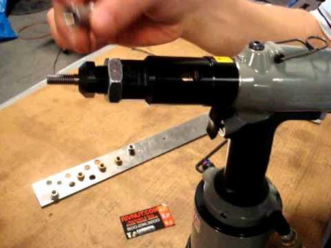 6703 Tool Demo - Heavy Duty Pneumatic Pull to Pressure Pistol Grip Rivnut Installation Tool