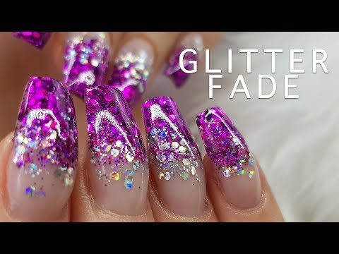 Acrylic Nails Purple Glitter Fade | Encapsulated Glitter | Infill and Re Design 6 weeks!