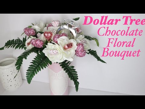 Dollar Tree DIY Chocolate Flower Bouquet | Valentines DIY Gift