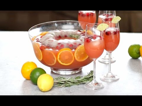 Holiday Vodka Punch With Festive Ice Ring