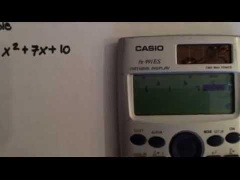 Factoring a simple quadratic equation using a calculator (Casio fx-991ES)